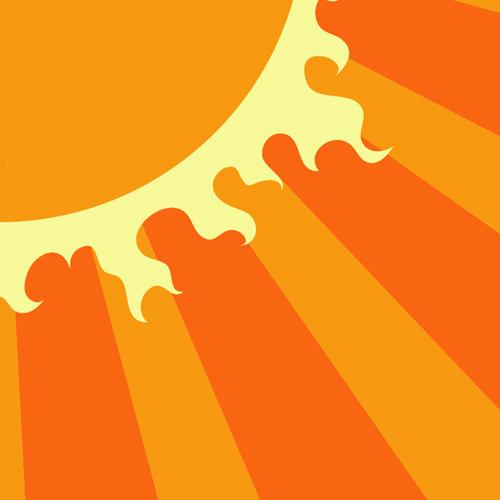 Illustration av miljömålet Begränsad klimatpåverkan. Solstrålar som strålar ut från en sol i ena hörnet. Illustration av Tobias Flygar.