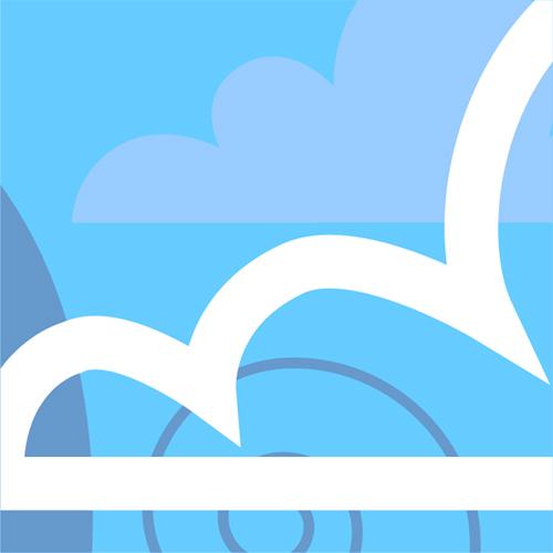 Illustration av miljömålet Frisk luft. Moln på en himmel. Illustration av Tobias Flygar.