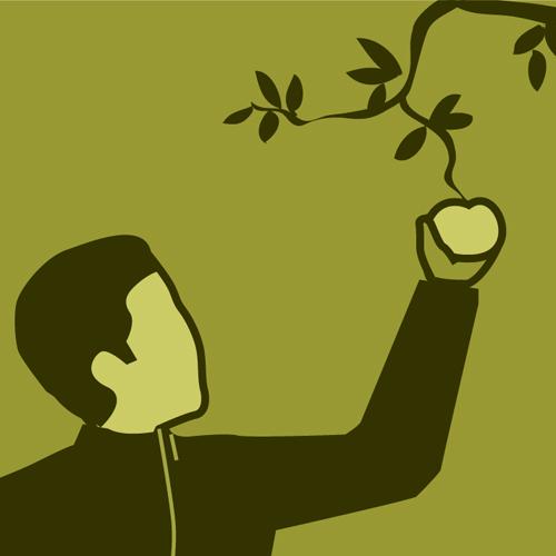 Illustration av miljömålet Giftfri miljö. En person sträcker sig efter ett äpple i ett träd.