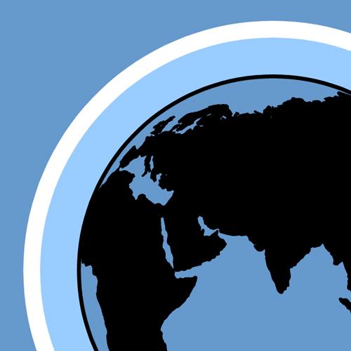 Illustration av miljömålet Skyddande ozonskikt. En jordglob med en ring runtom som ska föreställa ett lager ozon. Illustration av Tobias Flygar.