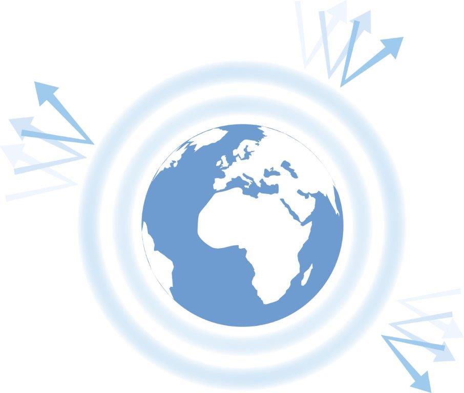 Illustration som visar skyddande ringar runt jordklotet och strålar som studsar mot dessa skyddande lager