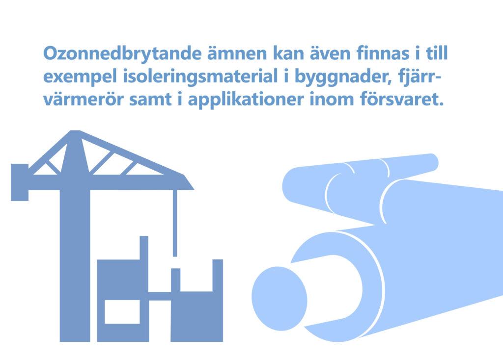 """Bilden visar texten: """"Ozonnedbrytande ämnen kan även finnas i till exempel isoleringsmaterial i byggnader, fjärrvärmerör samt i applikationer inom försvaret."""" Illustration av rör och byggarbetsplats."""