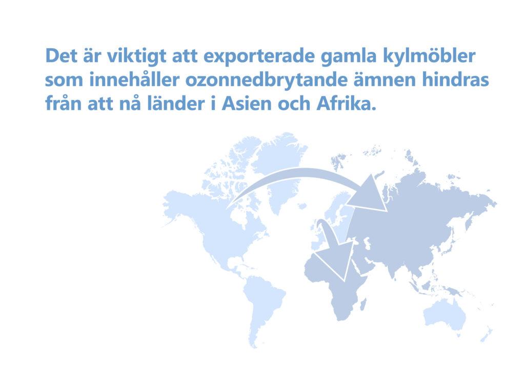 """Bilden visar texten: """"Det är viktigt att exporterade gamla kylmöbler som innehåller ozonnedbrytande ämnen hindras från att nå länder i Asien och Afrika."""" Illustration: Världskarta, med pilar från Nordamerika och Europa till Asien och Afrika."""