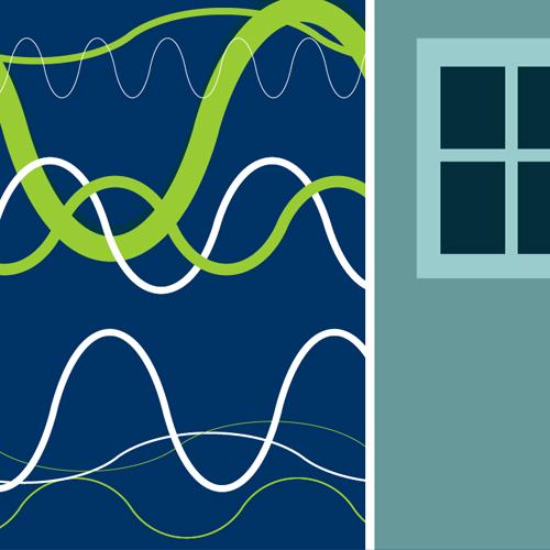 Illustration av miljömålet Säker strålmiljö. Olika typer av radiovågor och strålning studsar mot en husvägg. Illustration av Tobias Flygar.