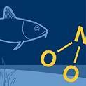 Illustration av miljömålet Ingen övergödning. En fisk som simmar under vattenytan.