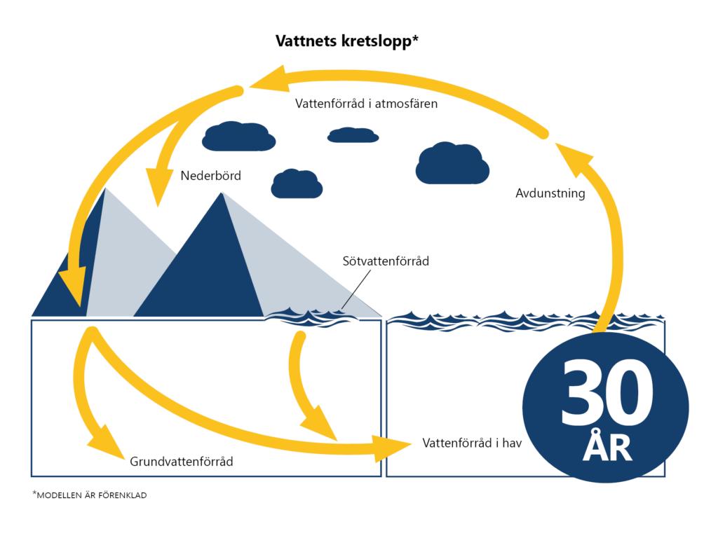 Bilden visar vattnets kretslopp mellan atmosfär, sötvatten, grundvatten och hav. För Östersjön är uppehållstiden 30 år.