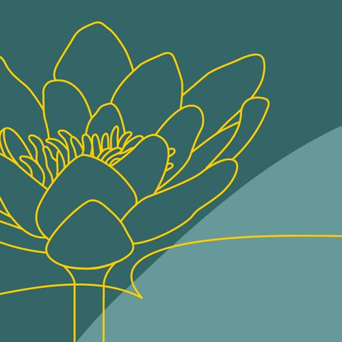 Illustration av miljömålet Levande sjöar och vattendrag. En stiliserad blomma mot bakgrund. Illustration av Tobias Flygar.