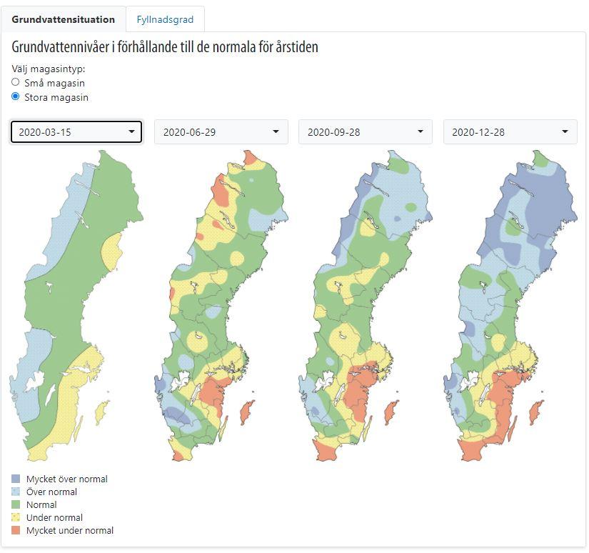 Bilden visar grundvattennivåerna i stora magasin i Sverige under mars, juni, september och december 2020 i förhållande till normala nivåer.