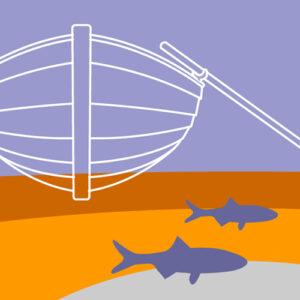 Illustration av miljömålet Hav i balans samt levande kust och skärgård. En eka i vattnet, under ekan simmar några fiskar.