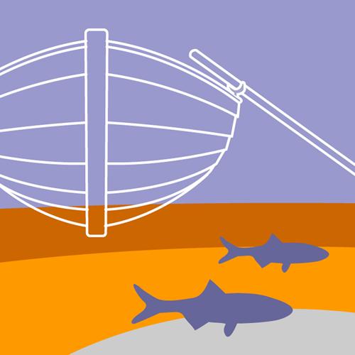 Illustration av miljömålet Hav i balans samt levande kust och skärgård. En eka i vattnet, under ekan simmar några fiskar. Illustration av Tobias Flygar.