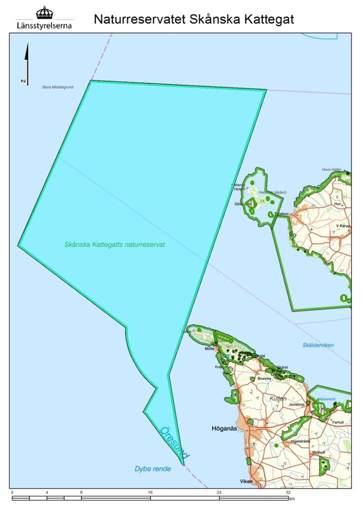 Kartan visar området för det marina naturreservatet Skånska Kattegat