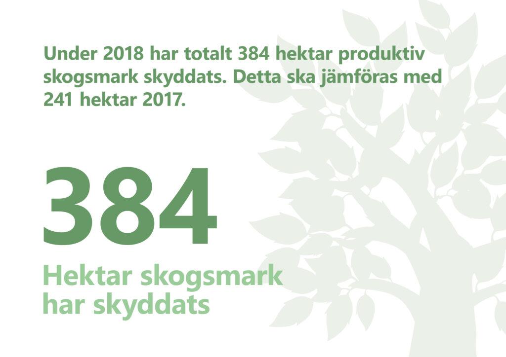 """Bilden visar texten """"Under 2018 har totalt 384 hektar produktiv skogsmark skyddats""""."""