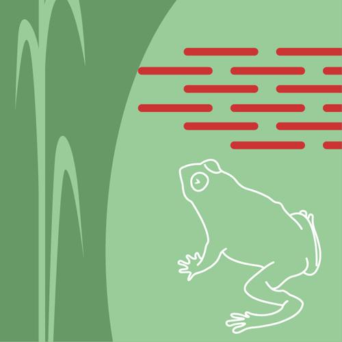 Illustration av miljömålet Myllrande våtmarker. En groda bredvid några strån vass. Illustration av Tobias Flygar.