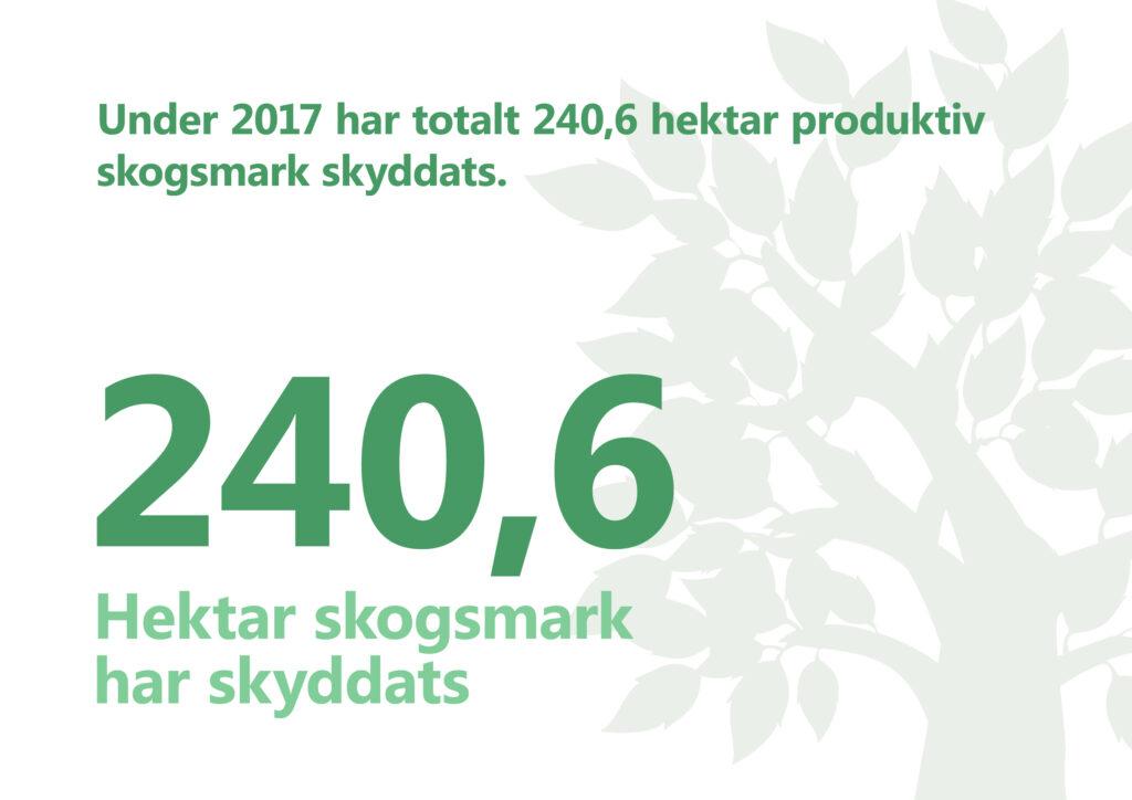 2017 har totalt 240,6 hektar produktiv skogsmark skyddats. Illustration: Ett stiliserat lövträd.