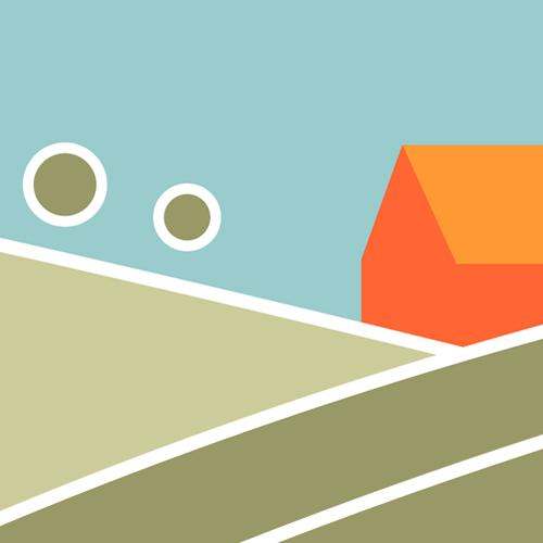 Illustration av miljömålet Ett rikt odlingslandskap. Åkermark i förgrunden och en bondgård i bakgrunden. Illustration av Tobias Flygar.