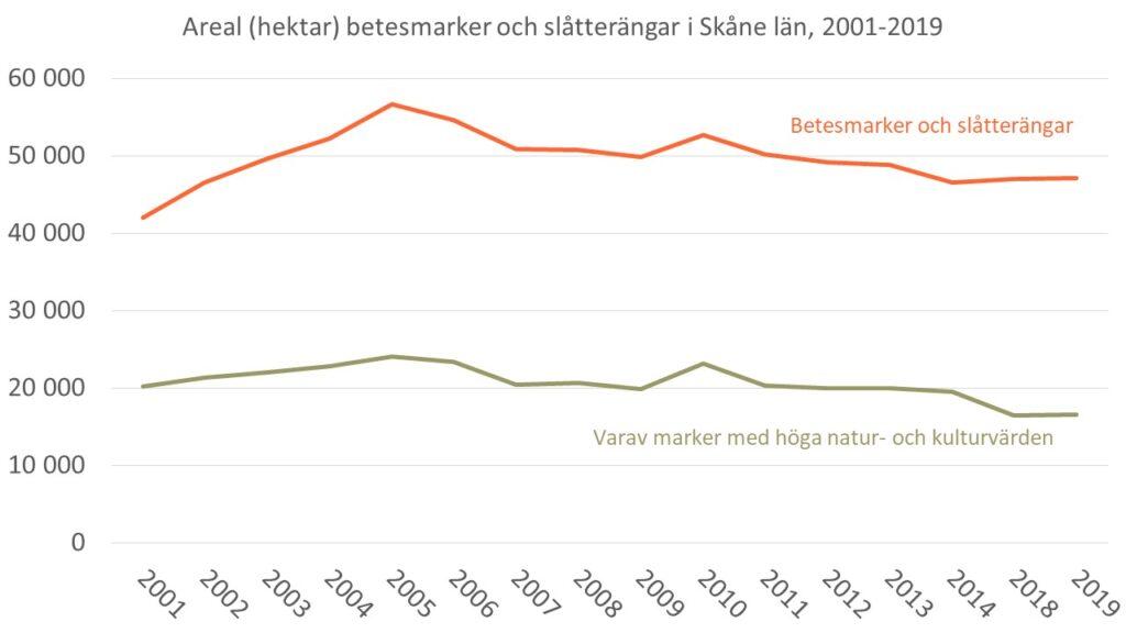 Diagram som visar förändringen av arealen betesmarker och slåtterängar i Skåne under perioden 2001-2019 samt utvecklingen av marker med höga natur- och kulturvärden under samma period.