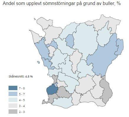 Bilden visar andelen invånare i de skånska kommunerna som upplever sömnstörningar på grund av trafikbuller.