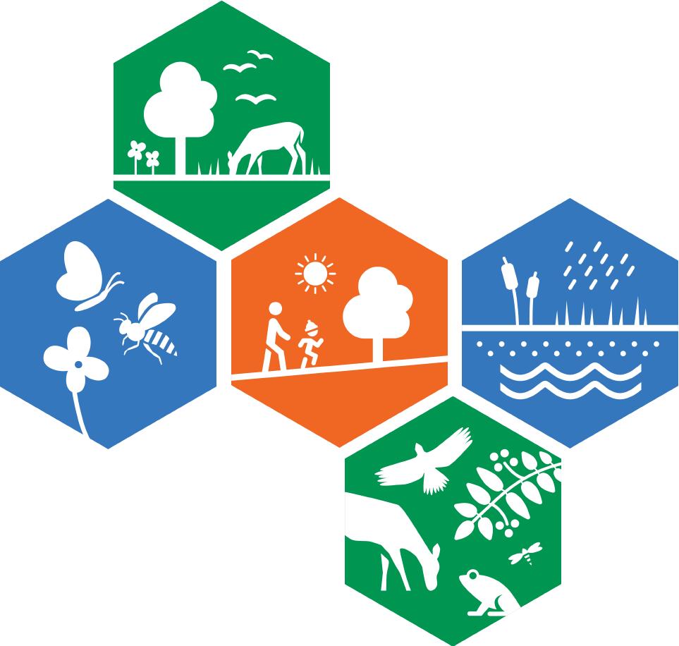 Bilden visar ikonerna för ett urval av ekosystemtjänster. Källa: https://www.boverket.se/sv/samhallsplanering/sa-planeras-sverige/planeringsfragor/ekosystemtjanster/grafiskt-material/