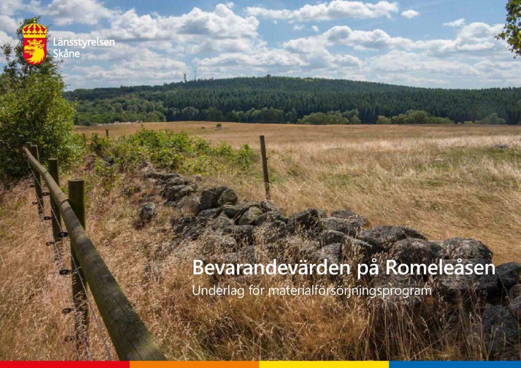 Framsida av rapporten Bevarandevärden på Romeleåsen. Underlag för materialförsörjningsprogram