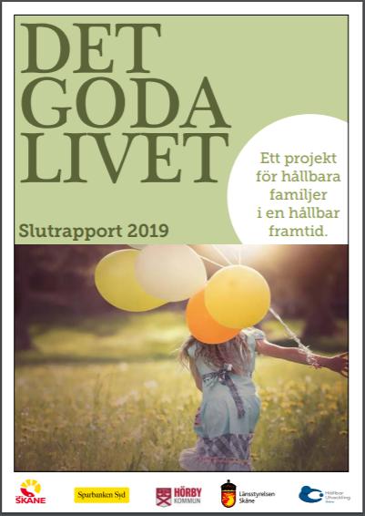 Framsida för rapporten Det goda livet. Barn med ballonger.