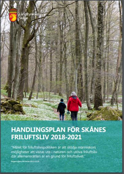 Omslagsbild av Handlingsplan för Skånes friluftsliv 2018-2021. Klicka på bilden för att komma till rapporten (pdf)