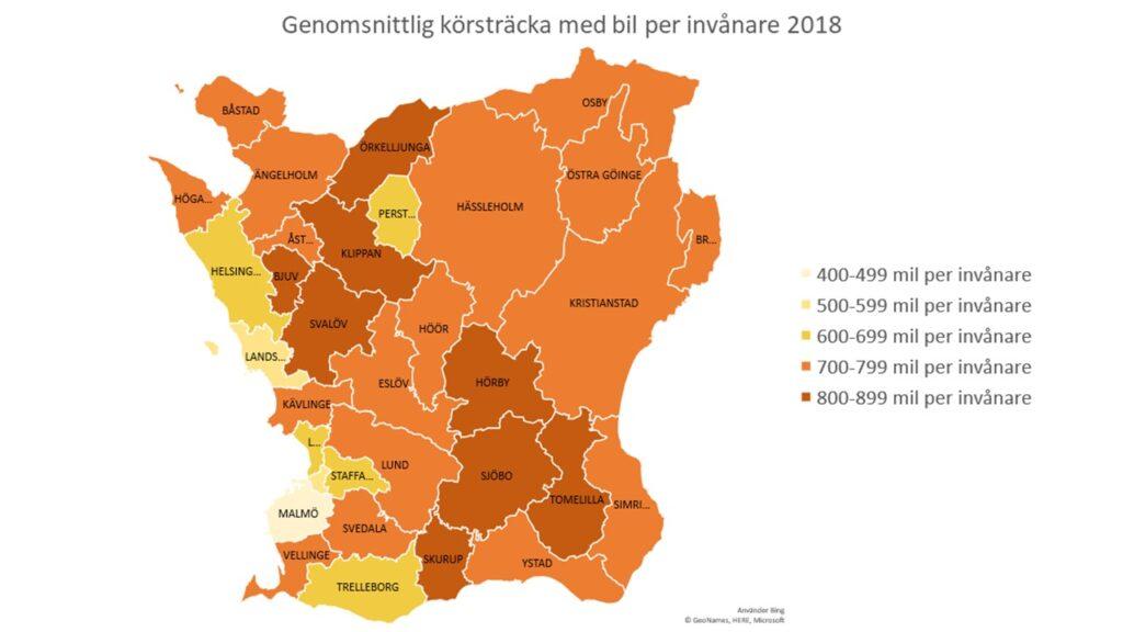 Genomsnittlig körsträcka med bil per invånare i Skånes kommuner år 2018. Källa: SCB