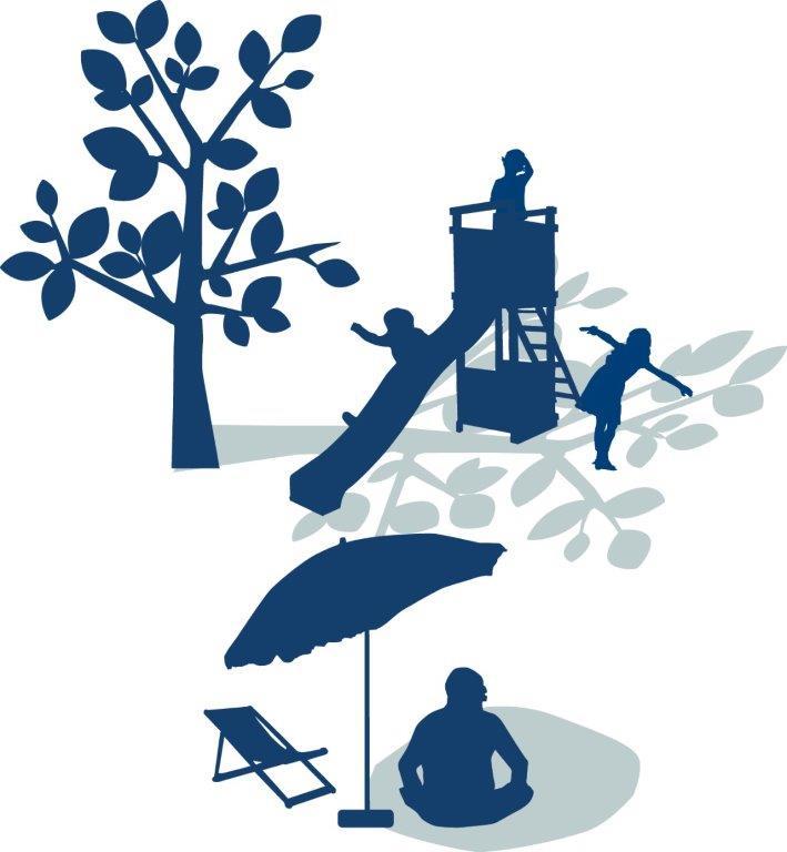 Illustration som visar lekande barn i skuggan av ett träd och en person i skuggan av en parasoll.