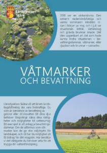 Framsida på broschyren Våtmarker och bevattning samt länk till broschyren