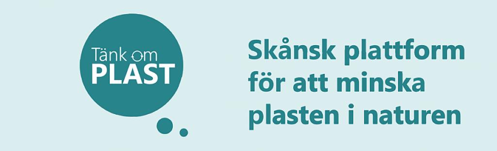 Banner för webbplatsen tänk om plast. En grön tankebubbla med texten Tänk om plats. Bredvid texten Skånsk plattform för att minska plasten i naturen.
