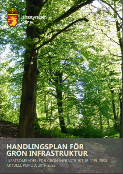 Bild på rapporten Handlingsplan för grön infrastruktur samt länk till samma rapport.