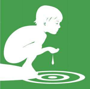 Miljömålsillustration för generationsmålet. Barn med vatten. Illustration: Tobias Flygar.