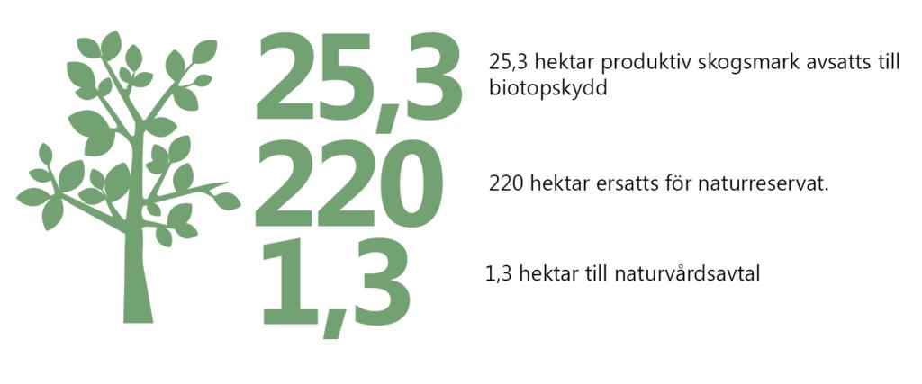 25,3 hektar produktiv skogsmark avsatts till biotopskydd. 220 hektar ersatts för naturreservat. 1,3 hektar till naturvårdsavtal. Illustration: stiliserat lövträd.