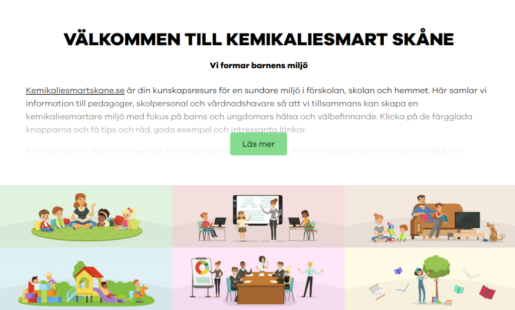 Skärmdump från kemikaliesmartskane.se samt länk till www.kemikaliesmartskane.se