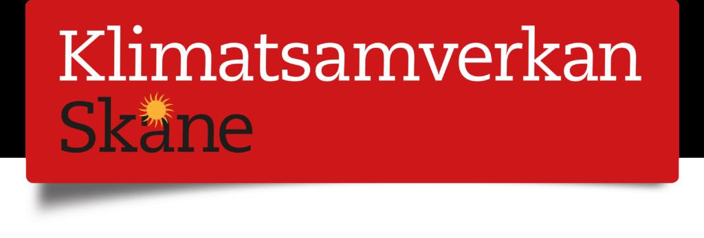 """Bilden visar logotypen för """"Klimatsamverkan Skåne"""", ett samarbete mellan Region Skåne, Skånes Kommuner och Länsstyrelsen Skåne"""