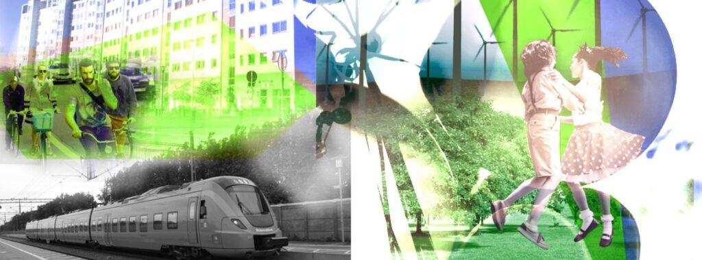 Collage av bilder som använts som banner för Uthålliga kommuner: Höghus, cyklar, vindkraftverk, tåg, barn som dansar. Tonat i grönt och blått. Länk till slutrapport